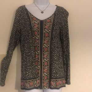 J. Jill Boho Rayon v-neck Shirt Small